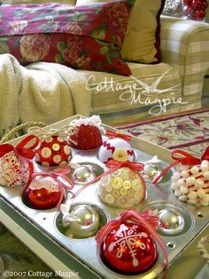 vintage ornaments in a muffin tin @ http://blogs.babble.com/the-new-home-ec/2011/11/19/18-unexpected-ways-to-decorate-with-ornaments/?pid=7947#slideshow
