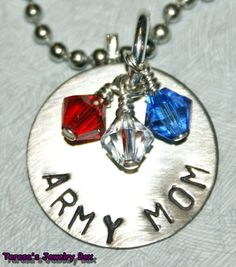 Army mom pendant w/crystals