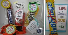 NEW! CANDY GRAMS!- Adorable candy themed gift tags for all occasions - some personalized!  Unique little gift ideas!