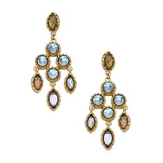 Blu Bijoux Gold and Grey-Green Chandelier Earrings ($15) ❤ liked on Polyvore featuring jewelry, earrings, fashion jewelryearrings, gold chandelier earrings, green chandelier earrings, gold earrings, yellow gold earrings and indian gold jewelry