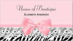 Girly Pink Bows and Lace Zebra Print Business Cards  http://www.zazzle.com/girly_pink_bows_and_lace_zebra_print_boutique_business_card-240773719422080100?rf=238835258815790439&tc=gbcwebpin Spread the word to clients and customers about your classy new business with this cute and girly zebra print boutique business card with eyelet lace and a light pink ribbon tied into a feminine bow.