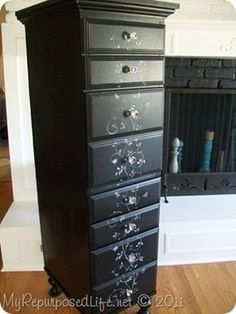 This was a desk. She turned it into a chest of drawers!!! I love it.