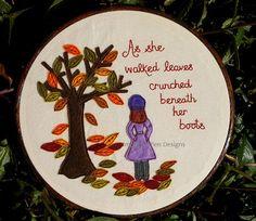 Autumn Walk art hoop hand embroidered by ImogenAllenDesigns