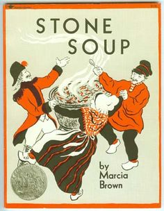 Stone soup: Heat some water in a pot.    Add some stones you've scrubbed a lot.    Sprinkle pepper, salt and herbs.    Let it boil undisturbed.    Drop in carrots, onions, too.    Let the soup heat through and through.    Stir in milk to make it sweet.    Add potatoes for a treat.    Toss in meat cubes. Let it stew.    Let it bubble, let it brew.    Taste the soup and when it's done,    Share Stone Soup with EVERYONE!