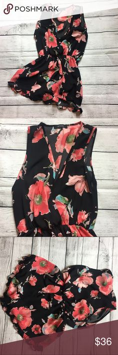 """Absolutely stunning flower print romper This super gorgeous romper is a must in every girls closet. Has a Gorgeous Hawaiian  print on romper in the color pink. It's super light weight and flowery. Short sleeve, v neck line and shorts. Doesn't come with sizing tags or materials tags which is why I am providing measurements. Comes with an elastic waist. Measures about 17"""" arm pit to arm pit, about 31"""" in length and the waist is about 11"""" but can stretch.  ANGL Pants Jumpsuits & Rompers"""