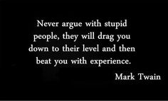 Never argue with stupid people ...