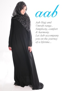 NOIR    A stylish classic black Abaya, wrap over style on the bodice and elegant pleats along the back and arms. A unique stylish piece that adds an air of authority to your classic black collection.  http://www.aabcollection.com/shop/product/noir/29