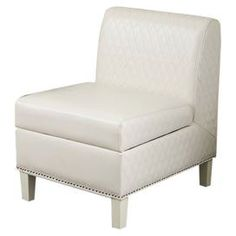 """Whether you want to update your living room or refresh your master suite décor, give your home a stylish uplift with this beautiful design.    Product: ChairConstruction Material: Bonded leatherColor: WhiteFeatures:  Overstuffed back and seatStorage space below seat cushion Dimensions: 30.3""""  H x 30.3""""  W x 24""""  DShipping: This item ships small parcelExpected Arrival Date: Between 04/08/2013 and 04/16/2013Return Policy: This item is final sale and cannot be returned"""