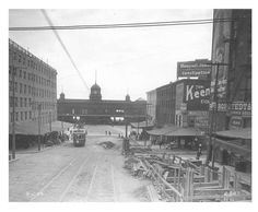 An eastward view of on Market Street toward Delaware Avenue. By 1906 the construction of the Market Street subway was under way. The work in progress can be seen at the right. The building in the background is the Pennsylvania Railroad's Ferries Terminus.