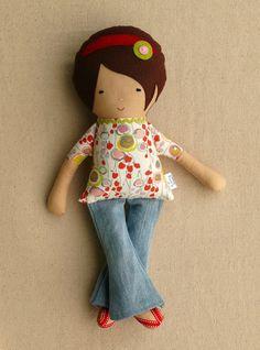 Doll Bell bottom jeans and flip flops by rovingovine on etsy.