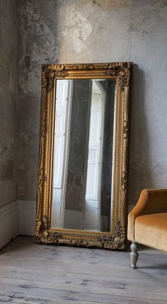 A beautiful and sophisticated baroque style, rectangular leaner mirror with a stunning carved wood frame, with a cream finish Deliveries to UK Mainland only. Wipe clean only. Large Gold Mirror, Golden Mirror, Gold Framed Mirror, Circle Mirrors, Baroque Mirror, Large Mirrors, Living Room Mirrors, Living Room Decor, Big Mirror In Bedroom