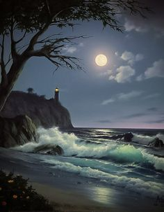 Sea Bright Moon & Lighthouse/ just got home, you looked beautiful and I love you and miss you very much. Good night my love. Moon Images, Moon Pictures, Pretty Pictures, Beautiful Moon, Beautiful World, Beautiful Places, Shoot The Moon, Belle Photo, Night Skies