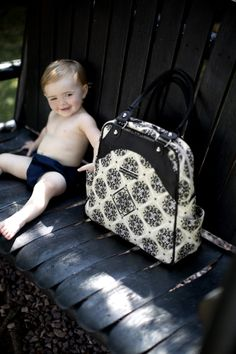 Sashay Satchel diaper bag in Wandering in Westbrook from PPB! A fashionable diaper bag for the modern parent.