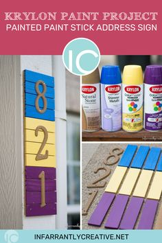 I might be obsessed with these paint stick projects, especially at the cost of wood these days!. There are just so many things you can do with them. Since I inherited a box of paint sticks, anticipate more projects in the future. Krylon asked me if I wanted to participate in a project featuring a color pallet of their choosing. I opted to upgrade my builder grade house numbers and I think it turned out super cute. Follow along to see how I made it! Easy Diy Crafts, Fun Crafts, Krylon Paint, Knock Off Decor, Paint Sticks, Diy Ideas, Decor Ideas, Spring Projects, Builder Grade