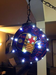"FC Barcelona LED Football/soccer ball would be great for a sports room, boys room, or ""man cave"""
