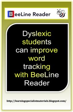 Learning Specialist and Teacher Materials - Good Sensory Learning: BeeLine Reader: Dyslexia and ADHD Technology Improves Word Tracking Abilities Reading Help, Reading Skills, Teaching Reading, Reading Tutoring, Teaching Ideas, Dyslexia Strategies, Dyslexia Teaching, Reading Specialist, Instructional Strategies