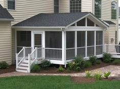 Screened #porch and #deck with @azekbuilds brownstone flooring and Longevity white PVC railing.