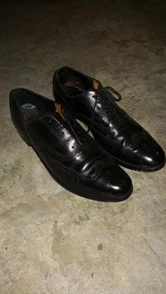3194c6f23 PEAL & CO BROOKS BROTHER BLACK LEATHER WINGTIP OXFORD MADE IN ENGLAND  SIZE 10 #