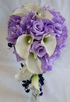 Calla lilys and Lavender Roses Wedding Cascading Bouquet.