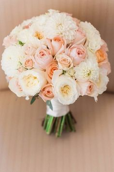 This is a great visual reference for the Bride's bouquet. Vicky loves this bouquet of white & blush colors and how compact it is. We would like her bouquet to look similar to this one. Summer Wedding Bouquets, Bride Bouquets, Floral Wedding, Peach Wedding Theme, Bouquet Wedding, Wedding Ceremony, Wedding Stage, Trendy Wedding, Wedding Inspiration