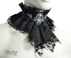 Black Victorian Choker Necklace with gray glass by Vilindery