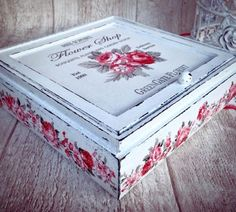 Painted Boxes, Wooden Boxes, Fair Projects, Projects To Try, Decoupage Box, Altered Boxes, Craft Box, Craft Fairs, Painting On Wood