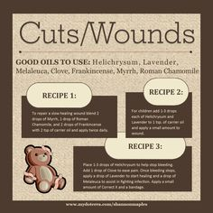 Here are some ways to treat minor cuts and wounds and to help them heal quickly!  For more info, or to order oils at 25% off retail, join the conversation on Facebook at https://www.facebook.com/eosandmore or www.mydoterra.com/shannonmaples
