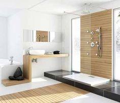 Douche à l'italienne avec parquet de salle de bain
