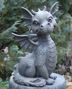 "Cute little dragon! ""The Last Dragon Chronicles. Magical Creatures, Fantasy Creatures, Cute Dragons, Dragon Art, Dragon Garden, Dragon Statue, Dragon House, Garden Statues, Urban Art"