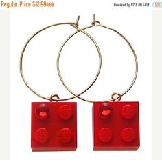 ON SALE Red LEGO R brick 2x2 with a Red by MademoiselleAlma #MademoiselleAlma #LEGO #ETSY
