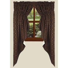Lover's Knot Jacquard Prairie Gathered Curtains - Country Village Shoppe