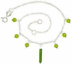 Sterling Silver Anklet Natural Stone Peridot Beads, adjustable 9 - 10 inch Sabrina Silver. $15.75
