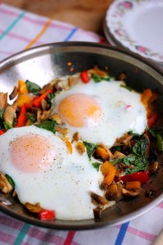 Roasted Veggie Breakfast Skillet for One! All you need are:     1 TBSP oil     1 1/2 cups chopped mixed veggies of choice (onions, mushrooms, bell pepper, kale, squash)     garlic powder     salt and pepper     2 eggs