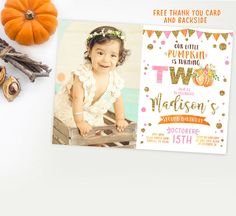 A little Pumpkin invitation with photo girl pink by Kattygoodparty