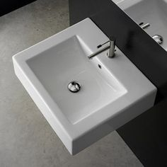 Nameeks Scarabeo White Wall-Mount Rectangular Bathroom Sink With Overflow Atg4827551