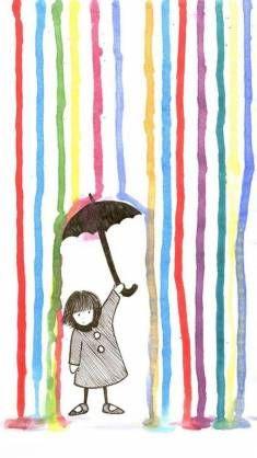 Rain - Spring-related art and illustration. Art For Kids, Crafts For Kids, Arts And Crafts, Art Children, Young Children, Arte Elemental, Classe D'art, Umbrella Art, Inspiration Art