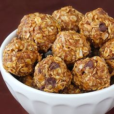 No-Bake Energy Balls - can use chia seeds in place of flax seed and almond butter instead of peanut butter.