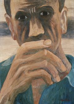 ben shahn( 1898-1969), man, 1946. tempera on composition board, 57.9 x 41.5 cm. the museum of modern art, new york, usa https://www.moma.org/collection/works/78971?locale=en