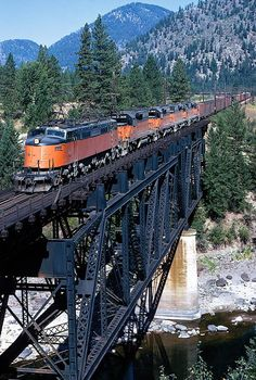 Mike Mills-Railroad Images of Bygone Days 19 July 2018 Milwaukee Road electric led train crossing the trestle at Cyr, Montana in Steve Patterson photo. By Train, Train Tracks, Railroad Photography, Scenic Photography, Night Photography, Landscape Photography, Railroad Pictures, Milwaukee Road, Bonde