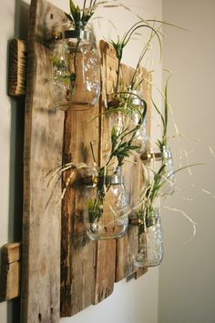 Brilliant and beautiful! Very unique and very rustic wall decoration. Made from recycled wood boards. Boards are lightly sanded and l . Wooden Pallet Projects, Wooden Pallets, Wine Bottle Art, Rustic Wall Decor, Recycled Wood, Ladder Decor, Glass Vase, Recycling, Arts And Crafts