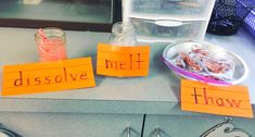 """When I taught second grade, I discovered that my kiddos did not really understand the difference between the words """"dissolve,"""" """"melt,"""" and """"thaw."""" So we tried it out, and then labeled it. Then, I passed out an ice cube to everyone, and they let it melt in their hands! I think that they understood it much better after that! Science should always be as hands-on and visual as possible, I think! Stem Projects, Book Projects, Five Little Pumpkins, Basic Sight Words, Environmental Print, Cup Games, Teaching Second Grade, Fluency Practice, Sing Along Songs"""