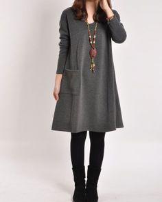 Cotton dress Long sleeve dress cotton tops por PerfectChlothing