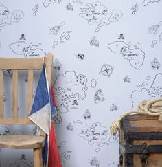 Pirate Seas (HH00202) - Hibou Home Wallpapers - A delightful pirate map, with islands, ships and sea serpents. Drawn in black on a pale gull grey. Please request sample for true colour match.