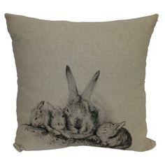 Cotton-linen blend pillow with a bunny motif.    Product: PillowConstruction Material: Cotton and linen blend cover an...