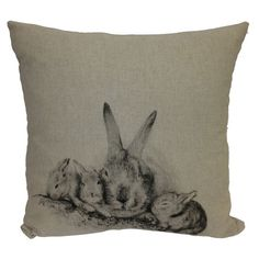 Cotton-linen blend pillow with a bunny motif.    Product: PillowConstruction Material: Cotton and linen blend cover an...