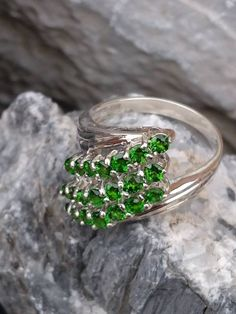 Type- Green Chromium Diopside Shape- Ring Size 9 US Weight- Jade Ring, Jade Beads, Very Lovely, The Row, Jewelry Rings, Great Gifts, Silver Rings, Fashion Jewelry, Beaded Bracelets