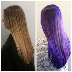 Our master stylist Kyle worked his color magic on our beautiful client, Daphne today. She came in with a grown out blonde ombré & @kyote183 Kyle created a custom mix of Pravana Pastel luscious lavender, Locked in lavender & Chroma silk violet. Creating the most stunning Multi dimensional smoky amethyst color.
