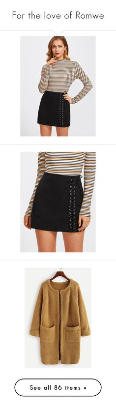 """""""For the love of Romwe"""" by ivyfanfic ❤ liked on Polyvore featuring skirts, eyelet skirt, lace up front skirt, lace up skirt, tops, cardigans, cardigan top, brown cardi, raglan sleeve top and raglan top"""