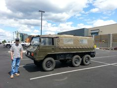 Richard and a Pinzgawer parked at North 40 Outfitters