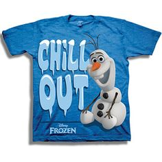 """can give tshirts out as favors! they only 6.88 some 5 boys this and girly ones for the girls """"pink"""" Disney Frozen Olaf the Snowman Chill Out Toddler Boy Graphic Tee"""